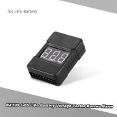 BX100 1-8S LiPo Battery Voltage Tester Low Voltage Buzzer Alarm with LED Indicator