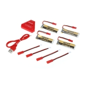 4pcs GoolRC 500mAh 3.7V 25C JST Connector LiPo Battery with 4 in 1 USB Charger for UDI U818A WLTOYS V959 V969 V979 RC Quadcopter