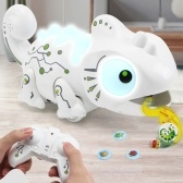 RC Chameleon Toy Multi Colored Lights Extendable Tongue Bug Catching Action Multi-Directional Remote Control Animated Eyes and Tail 5 Sounds