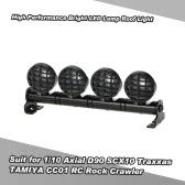 1/10 HSPタミヤRC4WDアキシャルD90 SCX10 TRAXXASタミヤCC01 RCロッククローラー用の高性能明るいLEDランプルーフライト検索ライト