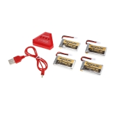 4pcs GoolRC 720mAh 3.7V 30C LiPo Battery with 4 in 1 USB Charger for Syma X5SW X5SC Cheerson CX-30W RC Quadcopter