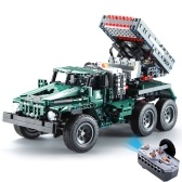 DOUBLE E C61002W 1369 Building Blocks 1/20 Trasformabile BM-21 Lanciarazzi Combat Vehicle RC Toy