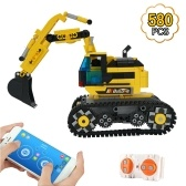 580pcs Building Block Excavator 2.4GHz RC Car Shop Truck APP Control Programming STEM Learning Kit Path Mode Voice Control Educational Toy