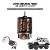 540 55T Brushed Motor with 60A ESC BEC Combo for 1/10 Traxxas Hsp Redcat Rc4wd Tamiya Axial scx10 D90 HPI Rock Crawler