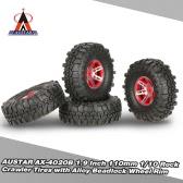 4 pezzi AUSTAR AX-4020B 1.9 pollici 110mm 1/10 gomme del cingolo della roccia con lega Beadlock cerchione per D90 SCX10 AXIAL RC4WD TF2 RC auto