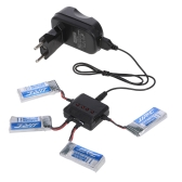4pcs 3.7V 500mAh Li-po Battery with 4 in 1 Battery Charger Kit for JJR/C H43WH GoolRC T33 Wifi FPV Drone Quadcopter