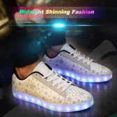 Moda hombres mujeres Unisex encaje recargables 7 colores cambio LED luminosos iluminación Casual Zapatos ropa deportiva zapatillas con estrellas fluorescentes