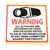 Security 24HR CCTV Camera Waterproof  Warning Sticker