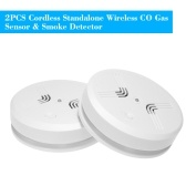 2PCS Cordless Standalone Wireless CO Gas Sensor & Smoke Detector Fire Alarm