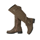 Mulheres Round Toe Mid Calf Botas Feminino Matte Leather Knight Boot Ms. Buckle Square Low Heel Shoes Calçado de salto