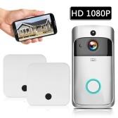 スマートHD 1080PワイヤレスビデオインターコムWI-FIビデオドアフォンビジュアルドアベルWIFIドアベルカメラ用アパートメントIRアラームワイヤレスセキュリティカメラ2プラグインチャイムシルバー