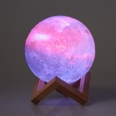 13 cm / 5.12in 3D Impressão Estrela Lua Lâmpada USB Led Moon Shaped Table Night Light
