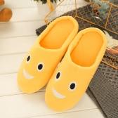 Mode Stickerei Niedlich Ausdruck Frauen Herren Winter Warm Hausschuhe Haus Indoor Floor Loafer Soft Ruhig Anti-Rutsch