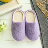 New Pure Color Soft Plain Slippers Wood Floor Non-slip Silent Mute Cotton Slippers Unisex Type