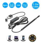3 in 1 USB Type-C Endoscope 6 LED 5.5MM Lens Inspection Endoscope