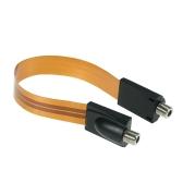 Extrem dünne flache Stromkabel F-Stecker passt unter Türen Windows ohne Bohren 26cm lang + F männlich Kamera Power Input / Output Adapter Kabel Verlängerung Linie