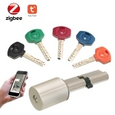 ZigBee Smart Lock Sécurité à la maison Cylindre de serrure de porte anti-vol pratique avec clés Fonctionnant avec TuYa ZigBee Hub Propulsé par TuYa