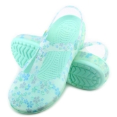 Verão Cool Beach Holes Printing Flores Shoes Antiskid Causal Women Sandálias de geléia de plástico Hollow Walking Slipper Respiravel Girls Backstrap