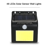 Solar Sensor Wall Lights, 48 LEDs Waterproof Outdoor Lighting Solar Powered Energy Saving PIR Motion Sensor Street Lamp Garden Night Light