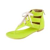 Nueva moda mujeres sandalias planas Color caramelo ATA para arriba el tobillo abrigo cremallera ojotas verano Casual zapatos