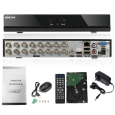 KKmoon 16CH Channel Full 960H/D1 DVR HVR NVR HD P2P Cloud Network Onvif Digital Video Recorder + 1TB Hard Disk support Plug and Play Android/iOS APP Free CMS Browser View Motion Detection Email Alarm PTZ for CCTV Security Camera Surveillance System