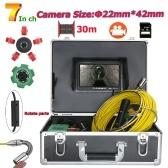 30M 22mm Pipe Inspection Videokamera 7-Zoll-Monitor mit 8 GB TF-Karte DVR Drain Pipe Sewer Inspection Kamerasystem IP68 Wasserdichte 1000 TVL Kamera mit 6W LED-Leuchten