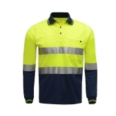 """SFVest Safety Reflective Shirt с высокой видимостью с длинным рукавом Карманная футболка 2 """"Серебряные отражающие ленты Мужская влажность Wicking Safety Polo Shirt Рабочая одежда"""
