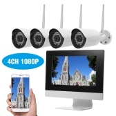 "4 Kanal HD 1080P Wireless WiFi NVR Kit 10,1 ""Netzwerk-Videorecorder + 4pcs 720P WiFi IP-Kamera"