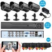 8-канальная система видеонаблюдения с полным разрешением 1080P Video DVR Recorder с 4 * 1080P крытой наружной атмосферостойкой камерой видеонаблюдения