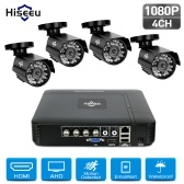 Système de caméra de sécurité 4CH 1080P DVR + 4pcs 1080P Full HD Indoor Outdoor Weatherproof CCTV Cameras Support Motion Alert Remote Access NO Hard Drive