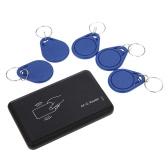 USB インタ フェース 5 個入りカード + 5 個セット キー ・ フォブ 13.56 MHZ RFID 14443a 準拠の非接触型 IC カード リーダー