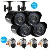 秒針OWSOO 4 * 800TVL屋外/屋内弾丸セキュリティCCTVカメラ+ 4 * 60フィート監視ケーブル耐候性IR-CUTナイトビュープラグアンドプレイ3.6 mm 24赤外線LED