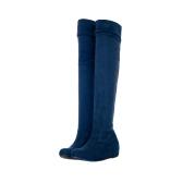 Fashion Frühling Herbst Frauen lange Stiefel flache Knie hoch alleinigen Schuhe blau