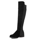Nueva primavera otoño mujeres botas largas Patchwork rodilla longitud zapatos negro