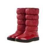 Las mujeres botas cuero lacado resistente al agua nieve botas zapatos planos calientes acolchados