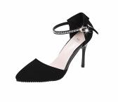 Las mujeres la moda de verano zapatos de tacón puntiagudo suela plana baja Vamp zapatos sandalias negro