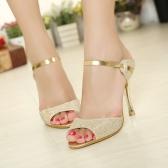 Moda de verano mujeres Sexy tacones PU cuero Peep Toe Slingback zapatos sandalias de oro