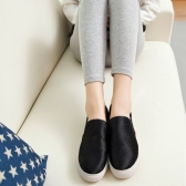 Nueva moda mujeres pisos resbalón en el dedo del pie redondo Casual mocasines Bamba piel zapatillas zapatos