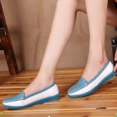 Fashion Women Flats Round Toe Slip-On Color Block Skidproof Loafers Casual Shoes