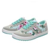 Neue Mode Frauen Canvas Sneakers Wohnungen floraler Druck Spitze bis niedrigen oberen Plimsoll Schuhe Blau/Pink/schwarz