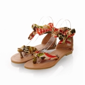 Summer Fashion Women Flats Floral Print Toe-post  Thin Shoes Sandals Yellow