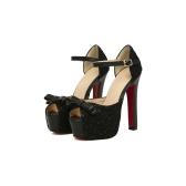 Moda mulheres sandálias laço Bow Peep Toe alta Praça calcanhar tornozelo cinta plataforma exclusiva bombas sapatos bege/preto