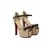 Fashion femmes sandales dentelle Bow Peep Toe High Square talon cheville sangle plate-forme pompes semelle chaussures Beige/noir