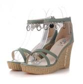 Verano mujer sandalias cuñas alta PU cuero correa cruzado zapatos verde
