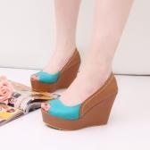 Fashion Women Wedges PU Leather Peep Toe Low Vamp Color Block Heels Shoes Blue