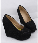 New Sexy Women Wedges Glittering Lace Platform Sole Heeled Shoes Pumps Black & Closed Toe