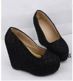 Novas mulheres Sexy cunhas, resplandecendo a única plataforma de laço adornada sapatos Scarpin Toe preto & fechado