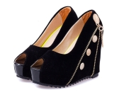 Women High Wedges Peep Toe Platform Sole Zipper Pumps High Heels Black