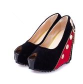 Frauen hohe Wedges Peep Toe Plattform ausschließlich Reißverschluss Pumps High Heels rot