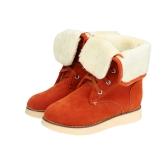 Nuova moda donna neve stivali pelle scamosciata del Faux Fur legato fissaggio punta tonda piega verso il basso stivali Casual